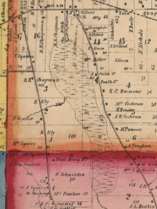 A detail from an 1857 Township map for Lorain County showing the East Marsh.