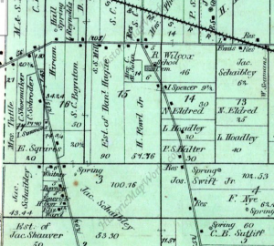 "A detail view from an 1874 Elyria Township Map showing the area where the East Marsh was located.  Note the number of ""Spring"" notations that are marked on the map."