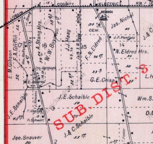 Detail view from an 1896 Elyria Township map showing the Haag Ditch that is still used today to drain the remnants of the East Marsh.