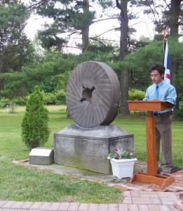 Col. Nahorn dedicates the grist stone to Jacob Shupe and to his drive and initiative to start business endeavors in what would become early Amherst.