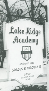 Original sign for Lake Ridge on Center Ridge Road, N. Ridgeville