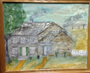 Custer's birthplace at New Rumley, OH. - painting by Col. Vietzen.