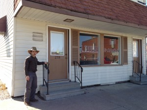 Col. Nahorn stands at the old Town Hall school.