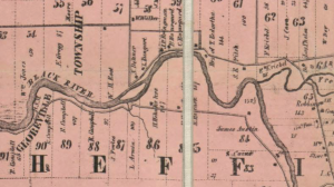 Detail of an 1857 Township map showing the ghost town of Globeville, Bungart Island, and the French Creek's confluence at the Black River.