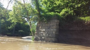 Remnants of the sandstone pilings that once comprised the historic Cooper Foster Park Road bridge.