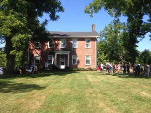 Visitors await tours of the 1820 Burrell House, led by Lorain County Historian Tom Hoerrle.