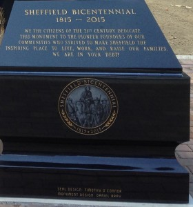 Detail view of the monument showing inscription and Bicentennial seal.