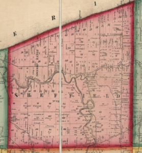 A detail view of the 1857 Lorain County Townships map showing the original area that comprised Sheffield.