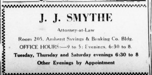"Atty. Smythe advertisement from the 1930s (""Amherst News-Times"")"
